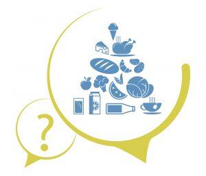 Ein zweiteiliges Icon für Fortbildung, bestehend aus einem Fragezeichensymbol und 15 weiteren Themensymbolen aus dem Bereich Ernährung