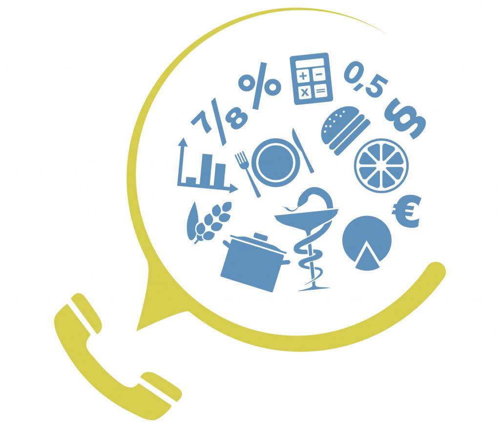 Ein zweiteiliges Icon für Beratung, bestehend aus einem Telefomsymbol und 14 weiteren Themensymbolen