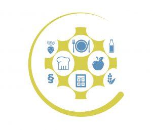 Ein einteiliges Icon für Netzwerkarbeit, bestehend aus 8 Themensymbolen, die mit einer Schablone verbunden sind.