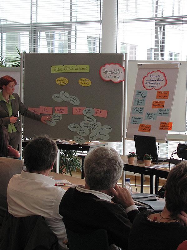Foto zeigt eine Fortbildungssituation mit Zuhörer*innen und einer Frau am Flippchart.