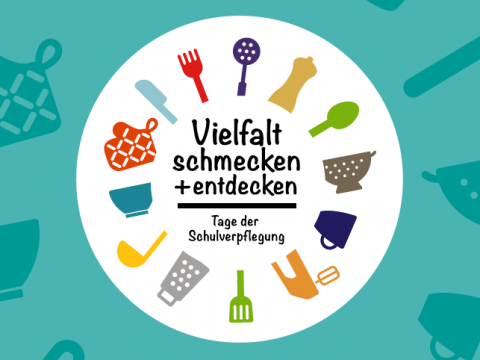 """Eine kreisförmige Zeichnung zeigt 13 Küchenutensilien und den mittig stehenden Text """"Vielfalt schmecken + endecken - Tage der Schulverpflegung""""."""